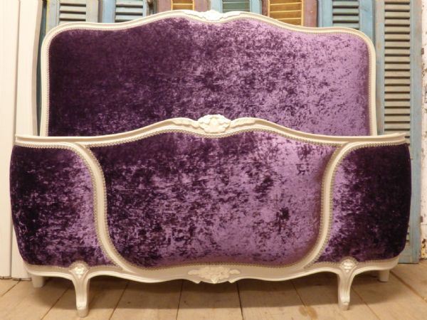 Upholstered Vintage French Double - New Crushed Velvet Type Material - ha121